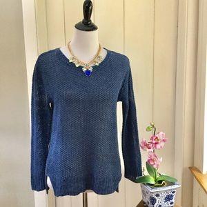 RALPH LAUREN Blue 100% Linen Open Weave Sweater